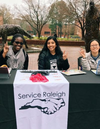I am currently on the board of Service Raleigh, an annual community service event held by NC State Students in order to give back to the local community. This year, I'm co-head of the Logistics committee, where I help plan for the day of the event, as well as a member of the Service U Committee, where we work to start new chapters at other colleges. Here I am recruiting volunteers alongside fellow Goodnights Selma Okyere-Badoo '22 and Rachel Chen '21.