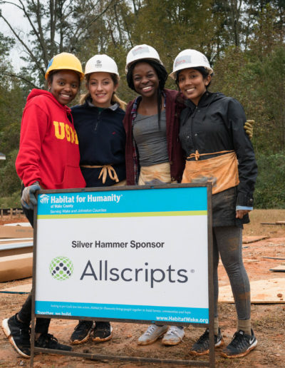 One of my favorite aspects of the Goodnight Scholars Program are the many programming opportunities available, especially community service. Here I'm volunteering at Habitat for Humanity, helping build houses in underserved areas, alongside fellow Goodnights Kourtni Curry '22, Carolina Dau '22 and Brittanya Wright 'T21.
