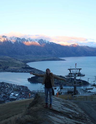 I also was able to go on a two week trip around the South Island! I saw Christchurch, Dunedin, Te Anau, Milford Sound and Queenstown. On this trip I saw wild penguins, seals and many species of birds. Here I am in Queenstown at the top of the gondola ride in July 2019. This, and the semester as a whole, made me interested in living abroad, possibly even in New Zealand! I learned a lot about their culture, which focuses on equality and the environment.
