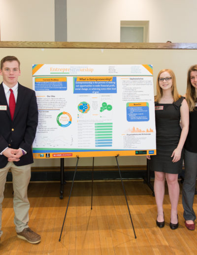 The project at the end of the GSP First-Year Seminar helped me learn a lot about scientific posters, research and working in a group at a college level. My teammates (Harper Day '21, Joshua Guter '21, Emily Stuelke '21, and Keyshawn Brown '21) and I created a plan for lessons encouraging high schoolers to pursue entrepreneurship. We presented at the poster fair in April 2018.