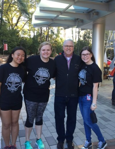 My freshman year, I served on the Service Raleigh Logistics Committee with fellow Park Scholars and Goodnight Scholars. Throughout the year we planned the kick-off event and organized over 2,000 volunteers. Here I am the morning of Service Raleigh in April 2017 with other committee members Jennifer Lo and Sara Jacob, as well as Chancellor Woodson.