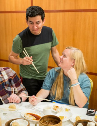 In October 2018, I participated in the Goodnight Scholars Program's fall break trip to Boston. This trip immersed me into cultures I had never experienced before and challenged me to venture out of my comfort zone. For instance, here I am using chopsticks for the first time at an authentic Chinese restaurant with fellow Goodnight Scholar Oscar Molina 'T19.