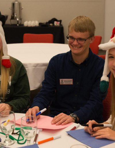In December 2016, I took part in the Holiday Mail for Heroes where we made holiday cards for the military abroad. It was a fun night filled with festive decorations and poor arts and crafts skills. In this photo, I am making cards with Melanie Hardee '20 and Anamarie Gunderson '20.