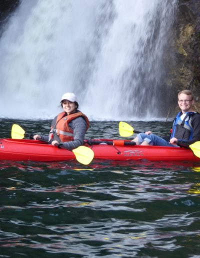 In May 2019, I went on the Mayventure Vancouver trip. On the trip, I got to see the beauty and sustainability of Vancouver and the Canadian Rockies. In this picture, Elizabeth Vanegas '22 and I kayaked in front of a beautiful waterfall near Kelowna, British Columbia.