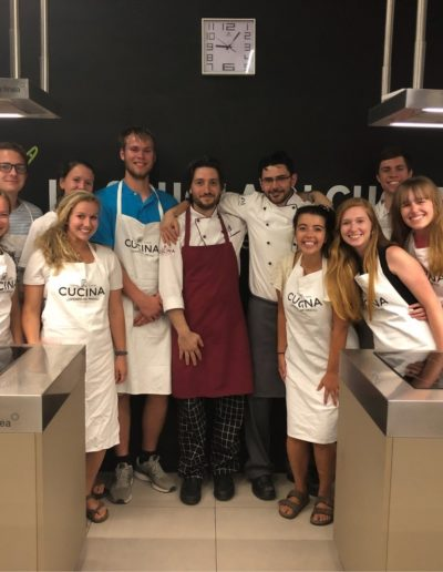 During summer 2018, I studied abroad in Florence, Italy. One of the classes I took during this time was a cooking course in the city's central market where I learned to cook various traditional Italian meals. Here I am pictured with my instructors and classmates, including fellow Goodnight Scholars Meredith Dickens '19, Mitch Amoriello '21, Shelby Brookshire '19 and Grason Humphrey '20.